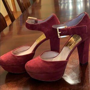 MK Sierra Platform BURGUNDY SUEDE OXblood heels